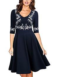 Miusol Damen Abendklei Sommer Kurz vintage Rockabilly Kleid Cocktail Ballkleid Blau Gr.36-44