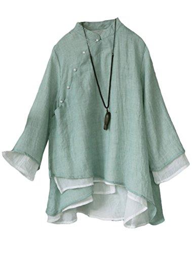 Lavnis Damen Leinen Tuniken Langarm Blusen V-Ausschnitt Hemd Vintage Shirts Tops Grün Fits EU 36-44 (Chinesische Kleidung Für Frauen)