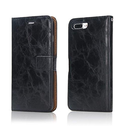 Verrückte Pferd Textur Abnehmbare Design PU Leder Geldbörse Tasche Tasche mit Kartensteckplätzen für iPhone 7 Plus ( Color : Brown ) Black