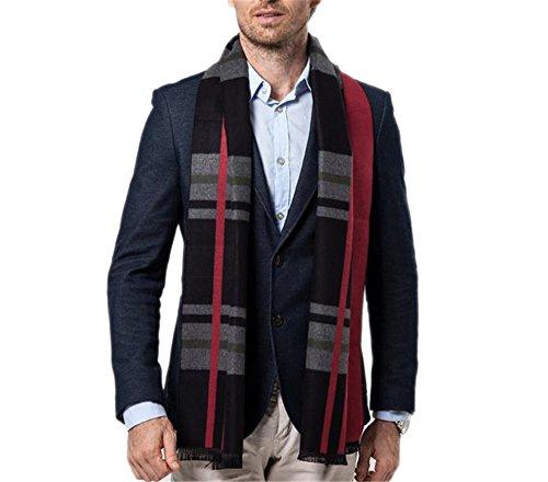 Hippolo Vertikale Streifen Gitter Freizeit Kotflügel Warm wie Kaschmir Pullover Männer Schal (Rot und Schwarz Marine) (Streifen-schal Vertikale)