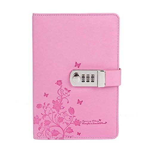 Cheerlife Tagebuch mit Passwort PU Leder Notizbuch mit Schloss DIN A5 Notizblock gedruckt Reisetagebuch mit Blumen Schmetterlinge (Pink) (Mädchen Code Pink)