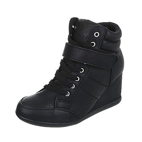 Sneakers High Damen-Schuhe High-Top Keilabsatz/ Wedge Keilabsatz Schnürsenkel Ital-Design Freizeitschuhe Schwarz, Gr 39, (Keilabsatz Schwarz)