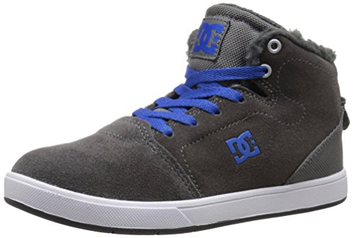 DC Crisis High Want Youth Shoes Sherpa Lined Hi Top Skate Shoe (Little Kid/Big Kid), Grey/Blue, 12 M US Little Kid (Dc Skate Schuhe High)