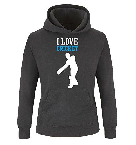 Comedy Shirts - I Love Cricket - Kinder Hoodie - Schwarz/Weiss-Blau Gr. 104