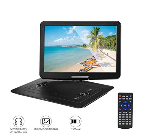 CZWXCD Tragbarer DVD-Player, 15,6 Zoll 270 ° drehbarer Bildschirm 8 Stunden Akku, Unterstützung für USB/SD/TV/Spiel/Video-Eingang/Ausgang