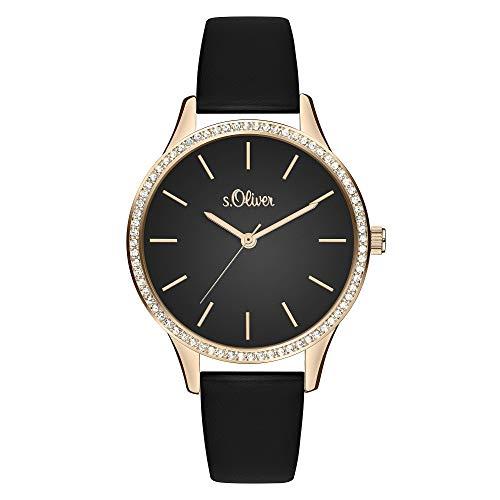 s.Oliver Damen Analog Quarz Uhr mit Leder Armband SO-3831-LQ