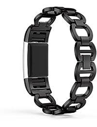 Correa Fitbit Charge 2,Culater Pulsera Ajustable Acero Inoxidable Pulsera Reloj Inteligente Banda Negro