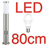LED Stand-Außenleuchte 80cm mit 2 Steckdosen & LED Leuchtmittel - Edelstahl Außenlampe Hoflampe Gartenlampe Gartenleuchte Balkon Rasen [Energieklasse A+]