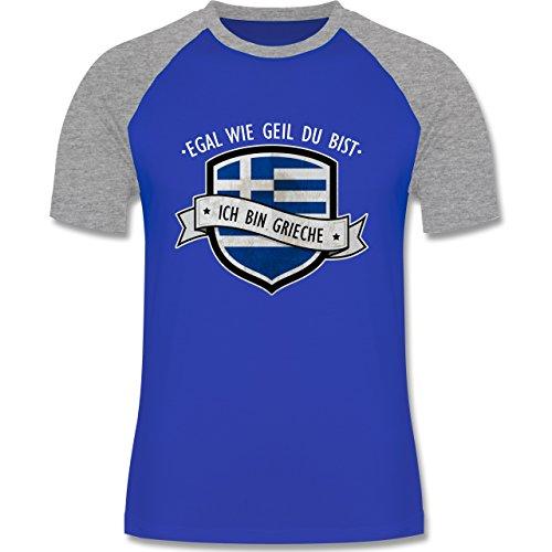 Shirtracer Länder - Egal wie Geil Du BIST - Ich Bin Grieche - Herren Baseball Shirt Royalblau/Grau meliert