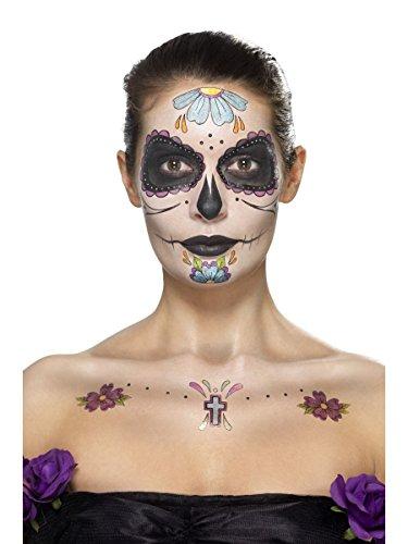 Smiffys Schminke Klebetattoos Tattoo Set Tag der Toten ()