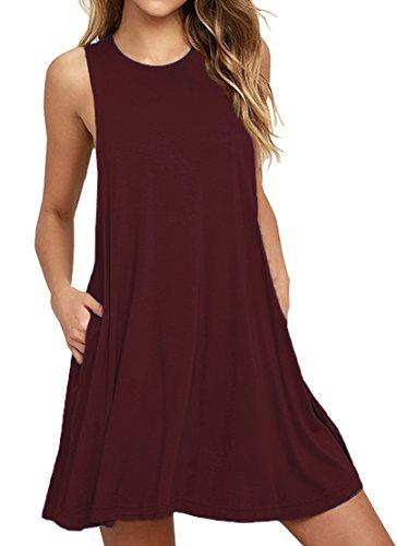 LILBETTER Damen Tunika Swing T-Shirt Kleid Ärmelloses Kleid (Weinrot M)
