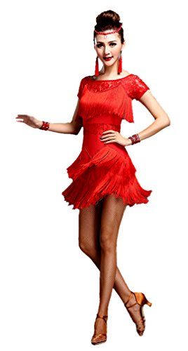 Kostüm Kleid Jazz Dance - Honeystore 2017 Neuheiten Damen Kurzärmelig Quasten Swing Rhythmus Jazz Latein Dance Kleid Rot XL