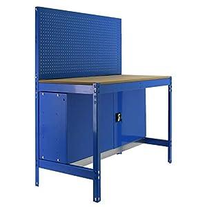 Banco de trabajo BT2 con armario Simonwork Azul/Madera Simonrack 1445x910x610 mms – Banco de trabajo con panel – mesa de bricolaje 400 Kgs de capacidad por estante