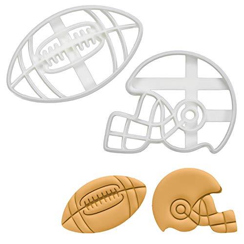 Bakerlogy 2er Set Amerikanischer Fußball Ausstechformen (Formen: Amerikanischer Football-Helm & Fußball), 2 Teile
