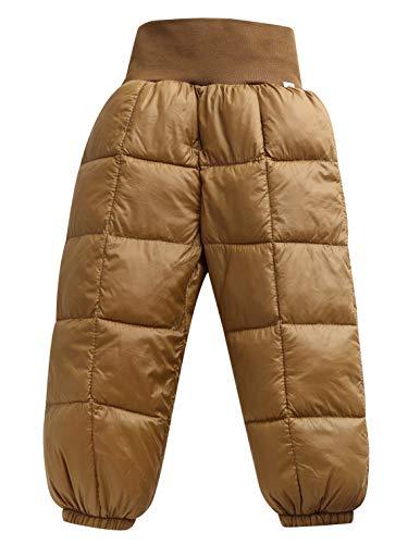Happy Cherry - Pantalons Bébés Enfants Garçon Fille Coton Doux Chaud Hiver Taille Haut Élastique Uni, Pantalons Longue Matelassé Ski Rayure Couleur Pure Marron Taille 18-24 Mois