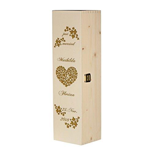 polar-effekt Weinkiste Holzbox mit Gravur - Personalisierte Geschenkbox für Weinflasche Weinpräsent - Aufbewahrungskiste Geschenk zur Hochzeit - Motiv just Married mit Efeuranken