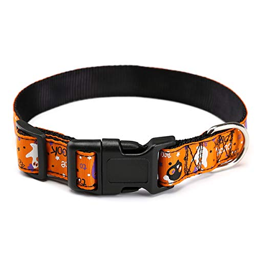 Adorrable Hübsches Hundehalsband für Halloween, Thanksgiving, Spezielles Designer-Halsband mit Dekoration, M, Orange 1