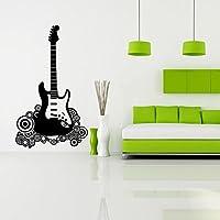 """BIBITIME Rock Star Guitar Decal Wall Vinyl Decor Sticker Bedroom Music Kids Room Decor Children Nursery Home Art Mural,16.93""""x18.11"""""""