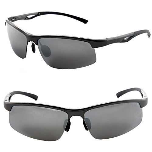 Männer Frauen Stil polarisierte Sonnenbrille Metallrahmen Sportbrillen (Gray, Grau)