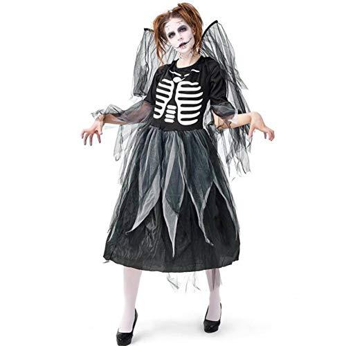 Für Erwachsene Kostüm Dunkel - ASDF Halloween Kostüm Erwachsenen Schädel drucken dunkle Engel Kleid Mesh Rock