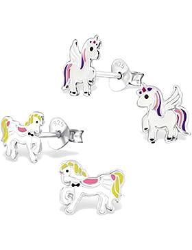 2 Paar Kinder Ohrringe 925 Silber Mädchen Ohrstecker Einhorn und Pferd Pony