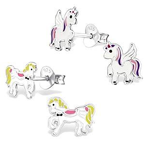 2 Paar Kinder Ohrringe 925 Silber Ohrstecker Einhorn und Pferd für Kleine Mädchen