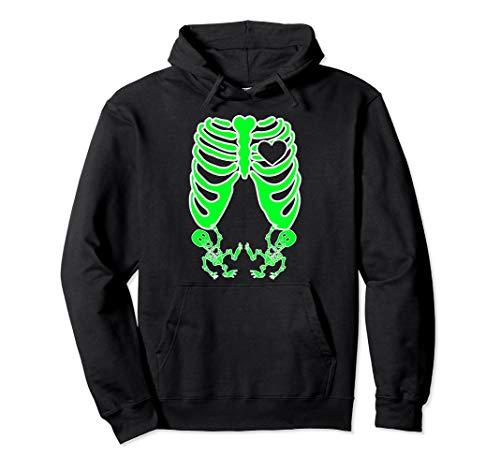 Kostüm X Skelett Ray - Schwangere Röntgen-Skelett Zwillinge Kostüm Mutter Halloween Pullover Hoodie