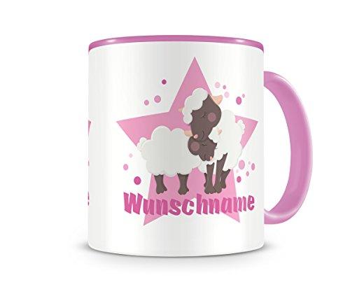 mit Namen und kuschelnden Schafen als Motiv Bild Kaffeetasse Teetasse Becher Kakaotasse (Kinder-tee-tassen)