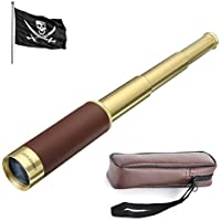 Retro Brass Pirate Monocular 25x30 Zoomable Pocket Monocular Portátil Plegable Pirate Jack's Spyglass Impermeable Handheld Telescope
