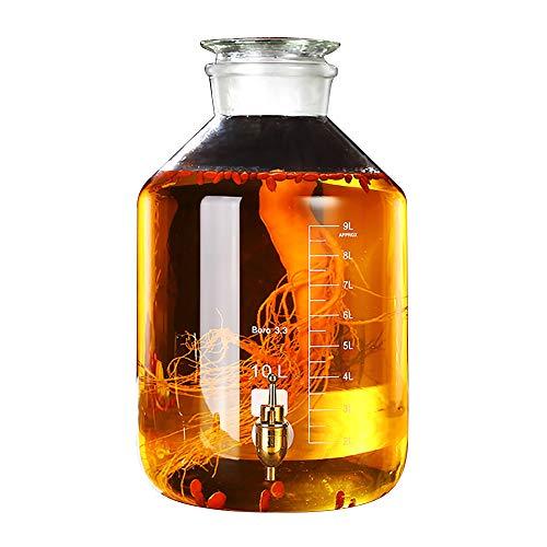 Beverage Dispenser YAN SYF Glas Getränkespender Einmachglas mit Metallzapfen Und Glasdeckel, 5L / 10L, Harzbasis A+ (Farbe : 10L, größe : Stainless Steel Spigot) - Glas Dispenser Spigot