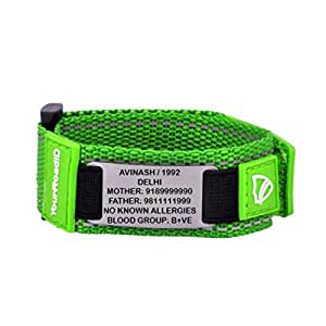 YOUR ROAD ID Sports Medical Alert Bracelet with Engraving (Green)