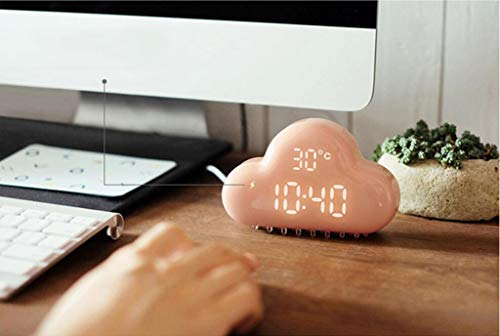 MOOMDDY Nube Forma Despertador Inteligente Voz Control LED Alarma Reloj Temperatura Pantalla USB Carga Despertador,Pink