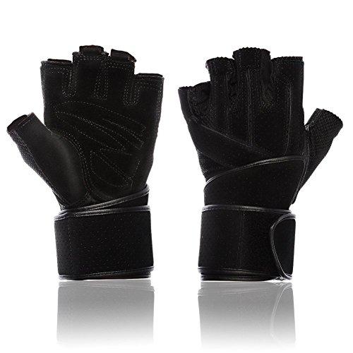Mounchain Premium Trainingshandschuhe Fitness Handschuhe mit Schweinsledern Griff und 45,7cm Langen Einstellbaren (Schwarz, M (18-20cm))