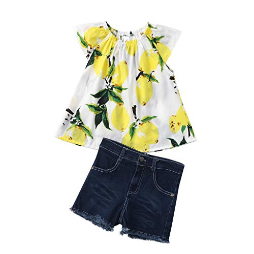 QinMM 1 Set Obst Print Mädchen Top + Loch Jeans Hose Shorts Anzug -