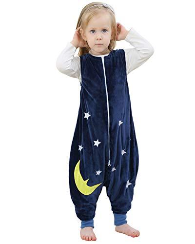DULEE 5-6 Jahre alt niedlich Unisex Baby Kind Sleeveless Zip Fleece Schlafsack Nachtwäsche Pyjamas Nachtwäsche, dunkelblau Fleece Sleeveless Zip