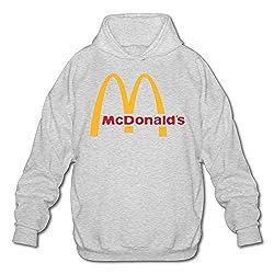 Herren McDonalds Logo Sweatshirt Tee Shirts Tshirt Langarm Baumwolle T Shirt für Herren Jugend Jungen Pullover Hoodie Ash M