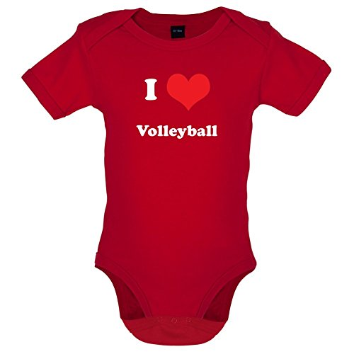 Dressdown I Love Volleyball - Lustiger Baby-Body - Rot - 3 bis 6 Monate