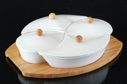 9-tlg. Tablett Dipschalen Set Schalen aus Porzellan mit Deckel Servierschalenset