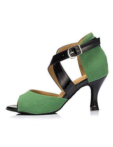ShangYi Chaussures de danse ( Autre ) - Non Personnalisables - Talon Cubain - Cuir / Cuir Verni - Latine / Jazz Green