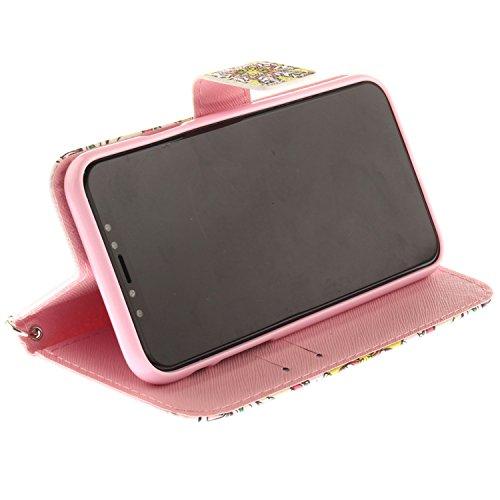 Coque Avec Cordon Peint pour iPhone X, Frlife   Housse en Cuir PU pour iPhone X Coque avec Étui en Silicone, Protection Complète pour Votre Téléphone Portable color12
