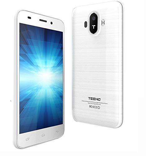 TEENO 4G Smartphone Libre 5.0 Pulgadas HD IPS 1GB RAM 8GB ROM Dual SIM Dual Cámara (K5016-Bianco)