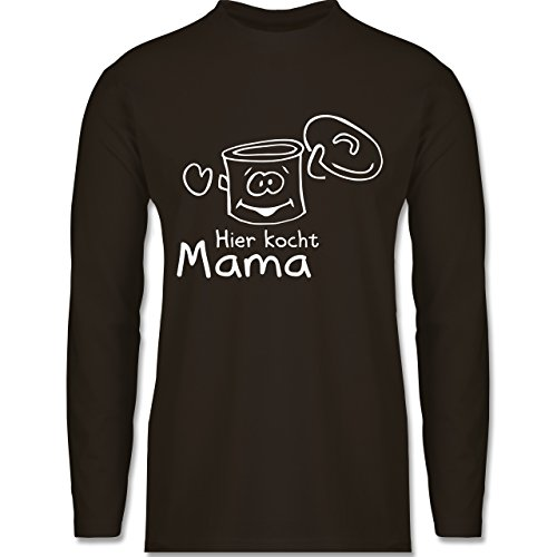 Küche - Hier kocht Mama - Longsleeve / langärmeliges T-Shirt für Herren Braun