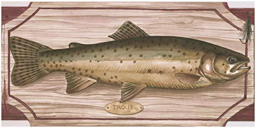 RetroArt Fisch, Schneidebrett auf Palisander Rosa Regal Küche Bad Tapete Grenze Retro-Design, Roll-15\' x 5\'\'