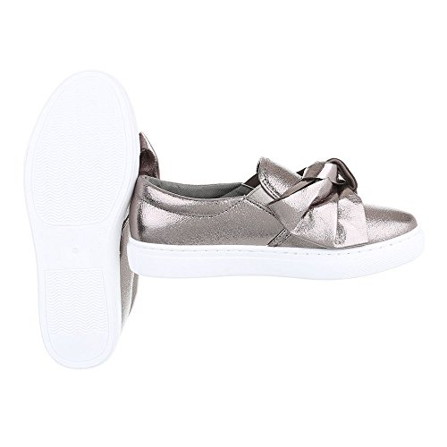 Slipper Damenschuhe Low-Top Moderne Ital-Design Halbschuhe Silber Grau