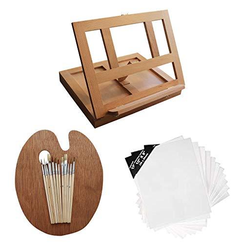Kurtzy Set de Pintura Lienzos y Caballete (26 piezas) - Mini Caballete de Mesa en Madera, Completo Kit Arte Pasatiempo para Niños, Principiantes - Set de Artista 12 Pinceles, 12 Lienzosy 1 Paleta