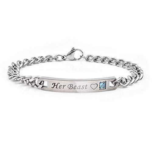 Daxey - Fashion Her König Seine Königin Paar Armbänder Silber Farbe Edelstahl Crown Kristallarmbänder für Frauen Männer Schmuck [A4 ()