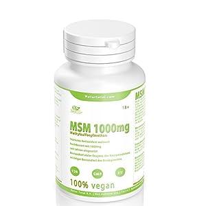 MSM Pulver hochdosiert reine MSM Tabletten – 120 Stück – hochdosiert mit 1000mg – vegan – Premium Qualität hergestellt in UK – Garantiert Glutenfrei
