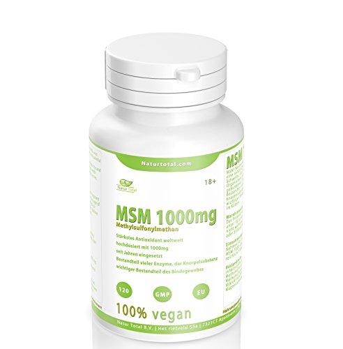 MSM Pulver hochdosiert reine MSM Tabletten - 120 Stück - hochdosiert mit 1000mg - vegan - Premium Qualität hergestellt in UK - Garantiert Glutenfrei -