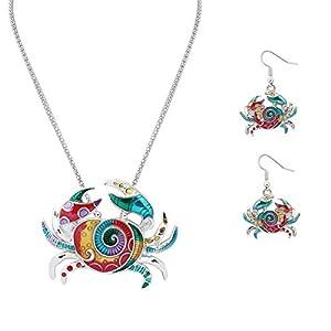 Exquisite Fashion Rainbow Crab Halskette und Ohrringe Set mit 48 cm Kette für Mädchen Frauen Teenager als Geschenk