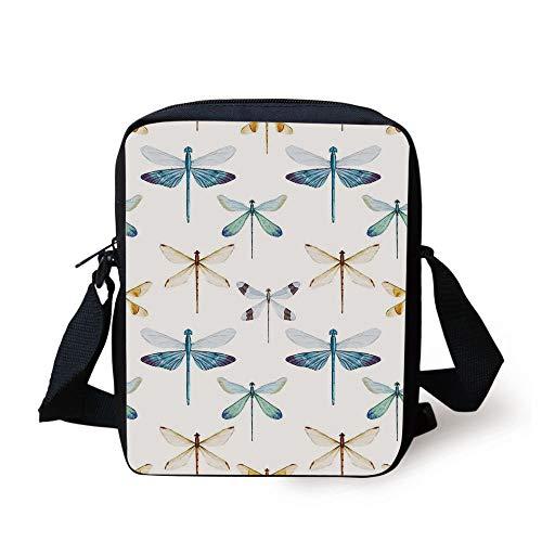 Dragonfly,Collection of Regularly Lined Up Limitless Dragonfly Patterns Short Lives Symbol,Orange Blue Print Kids Crossbody Messenger Bag Purse -